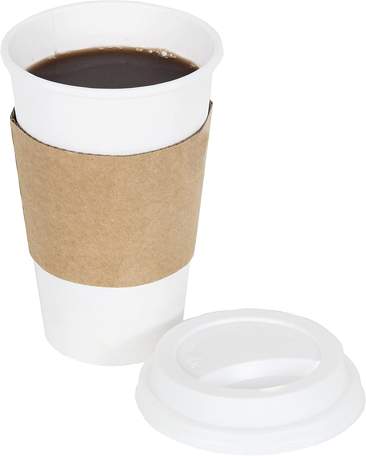 CucinaPrime 16oz White Disposable To-Go Paper Coffee/Hot Beverage Cups with White Lids and Sleeves- 50 Pack