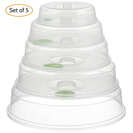 amazon com set of 5 microwave plate covers with adjustable steam