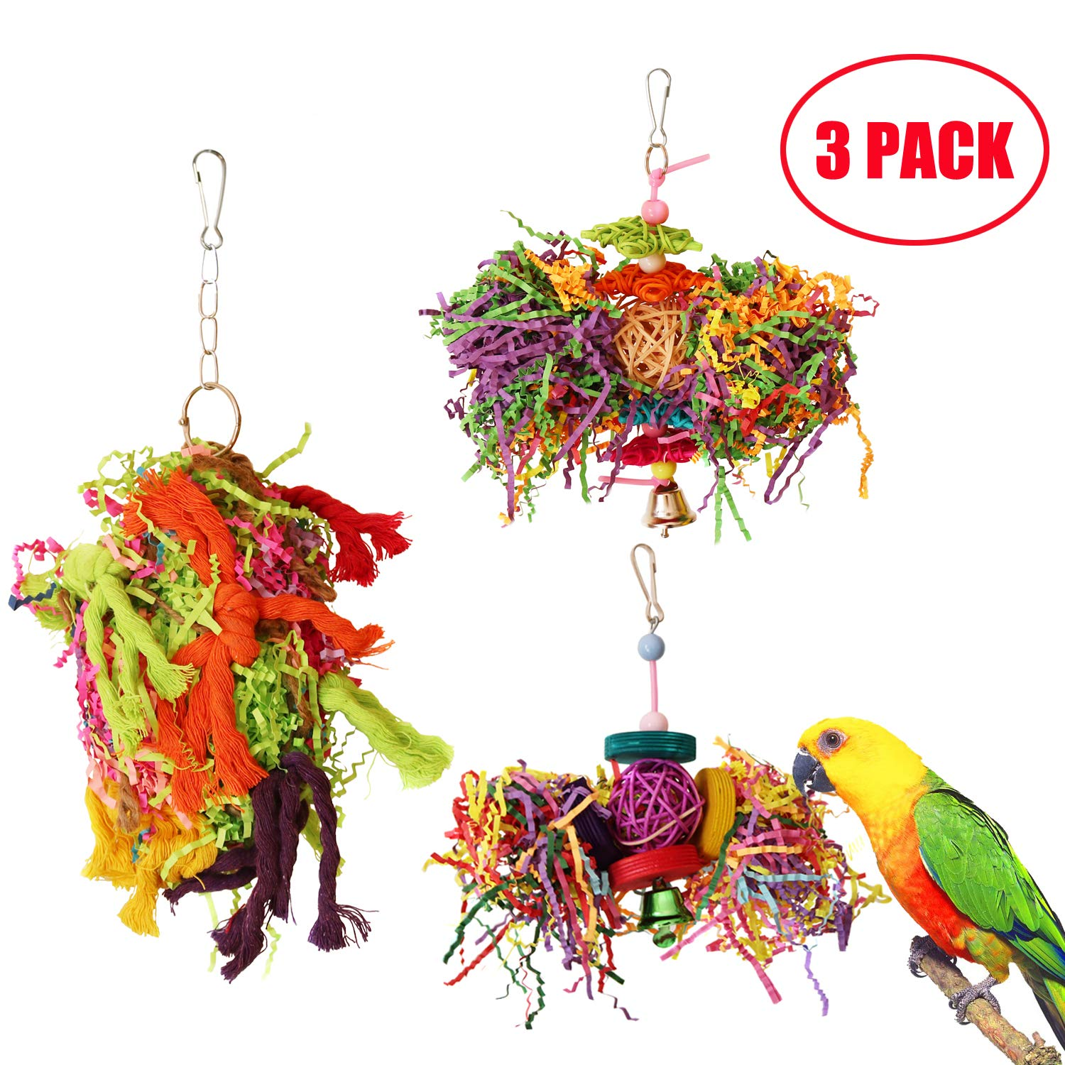 BWOGUE Bird Chewing Toys Parrot Cage Shredder Toy Foraging Hanging Toy for Cockatiel Conure African Grey Amazon (3 Pack) by BWOGUE