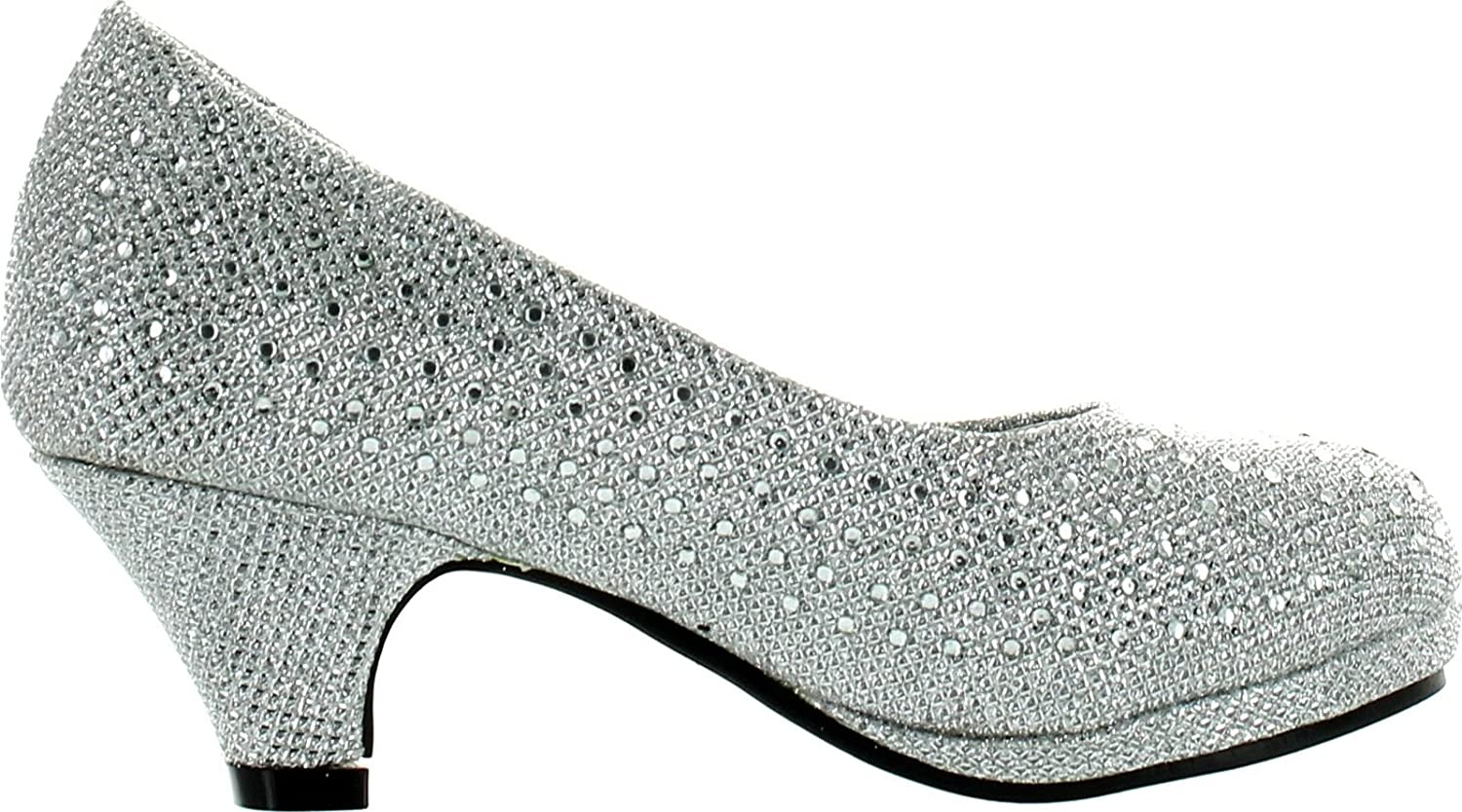 KP 101 K Little Girls Rhinestone Heel Platform Dress Pumps Silver