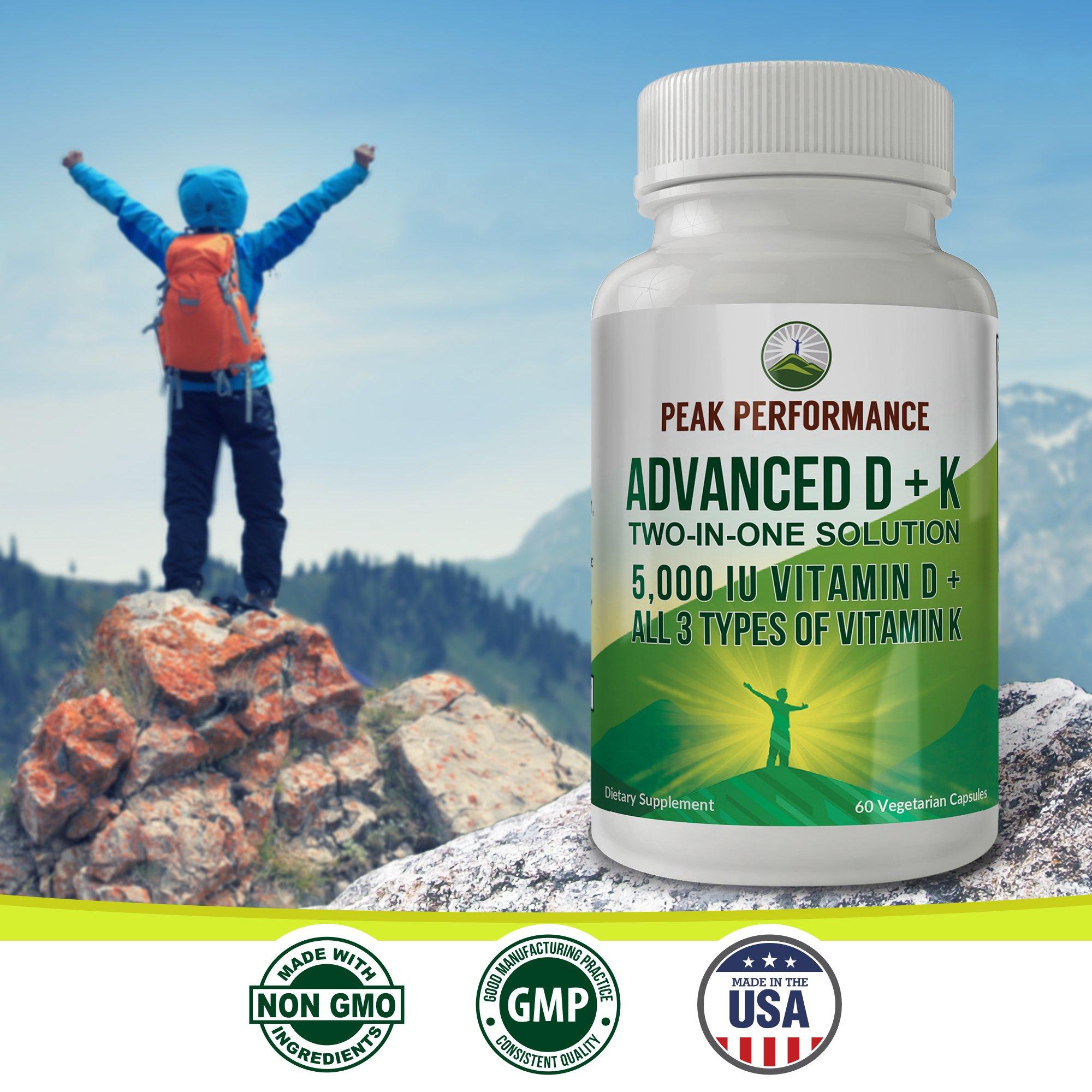 ADVANCED Vitamin D 5000 IU + ALL 3 Types Of Vitamin K By Peak Performance. Vitamin D3 and Vitamin K2 MK-7 (MK7) K2 MK4 K1 Supplement! 60 Small & Easy to Swallow Vegetable Capsules / Pills (5000 IU) by Peak Performance Coffee (Image #5)