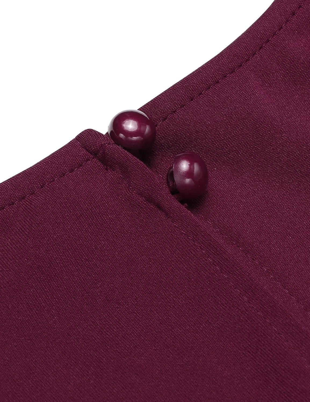 c2b34ff23b68d4 Parabler Damen V-Ausschnitt Wickelkleid Bleistiftkleid Etuikleid Ärmellos  Knielang Abendkleid Business Kleid Kleider Bekleidung