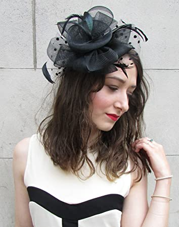 d2cc23d7 Large Black Net & Feather Fascinator Races Vintage Wedding Hair Clip Hat  20s N80 *EXCLUSIVELY