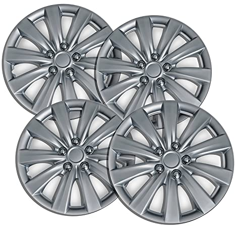 16 inch Hubcaps Best for 2011-2016 Toyota Corolla - (Set of 4) Wheel Covers 16in Hub Caps SIlver Rim Cover - Car Accessories for 16 inch Wheels - Snap On ...