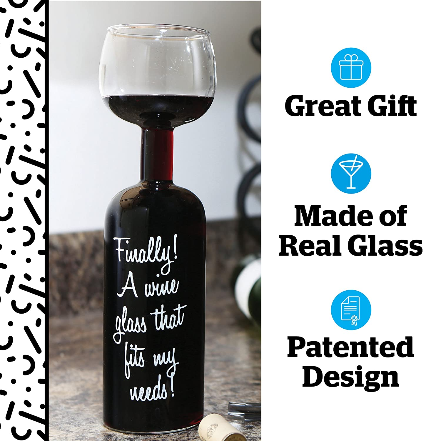 BigMouth Inc Ultimate Wine Bottle Glass Big Mouth Toys BM1581