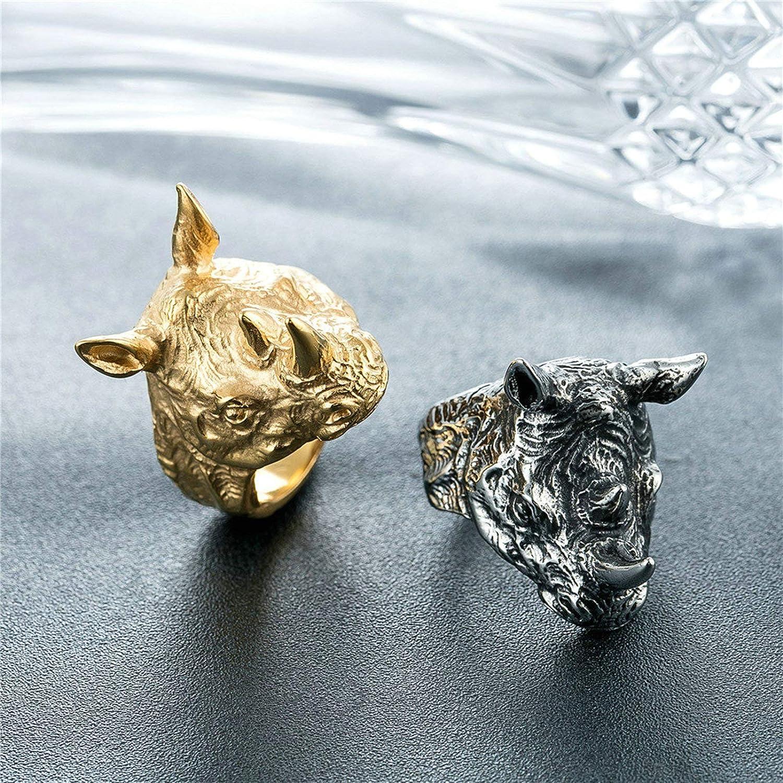Bishilin Edelstahl Partnerring Herren Nashorn Kopf Freundschaftsring Silber//Gold Ring f/ür M/änner Freunde
