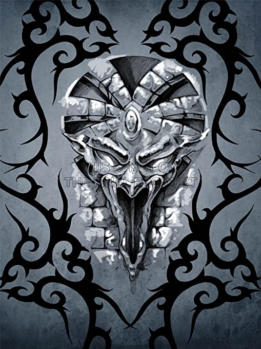 PAINTING DRAWING DESIGN TATTOO CONCEPT GARGOYLE FACE ART ...