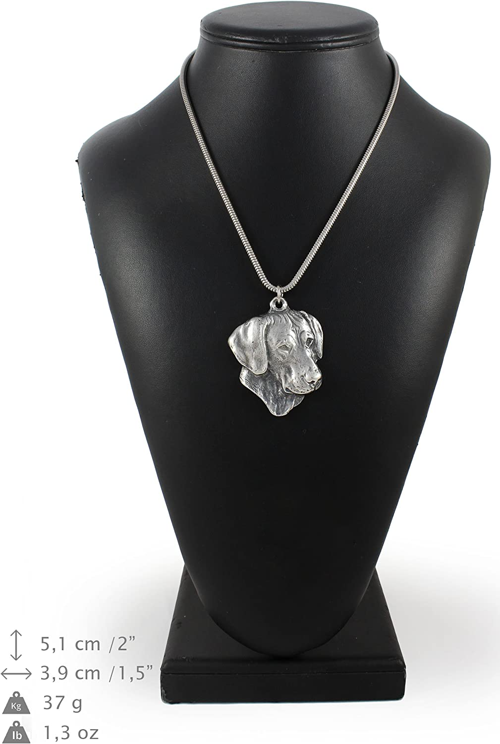 ArtDog Weimaraner Necklace Silver Plated Dog Pendant on a Snake Chain