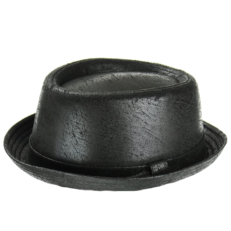 Porkpie trilby hat black cracked leather distressed vintage effect soft finish