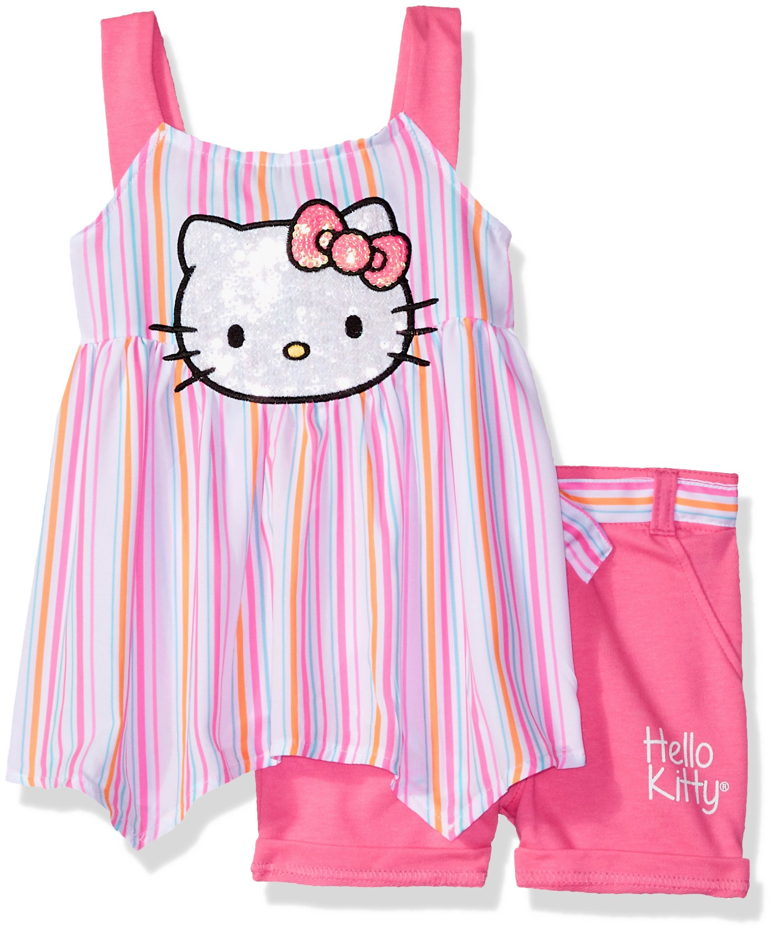 Hello Kitty Big Girls' Short Set with Embellished Fashion Top, Pink, 12