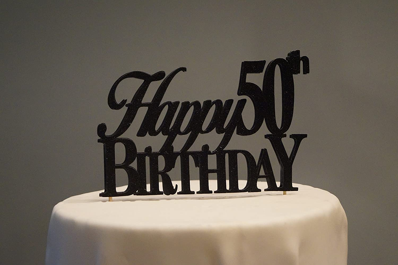 Awe Inspiring Amazon Com Black Happy 50Th Birthday Cake Topper Kitchen Dining Funny Birthday Cards Online Hetedamsfinfo