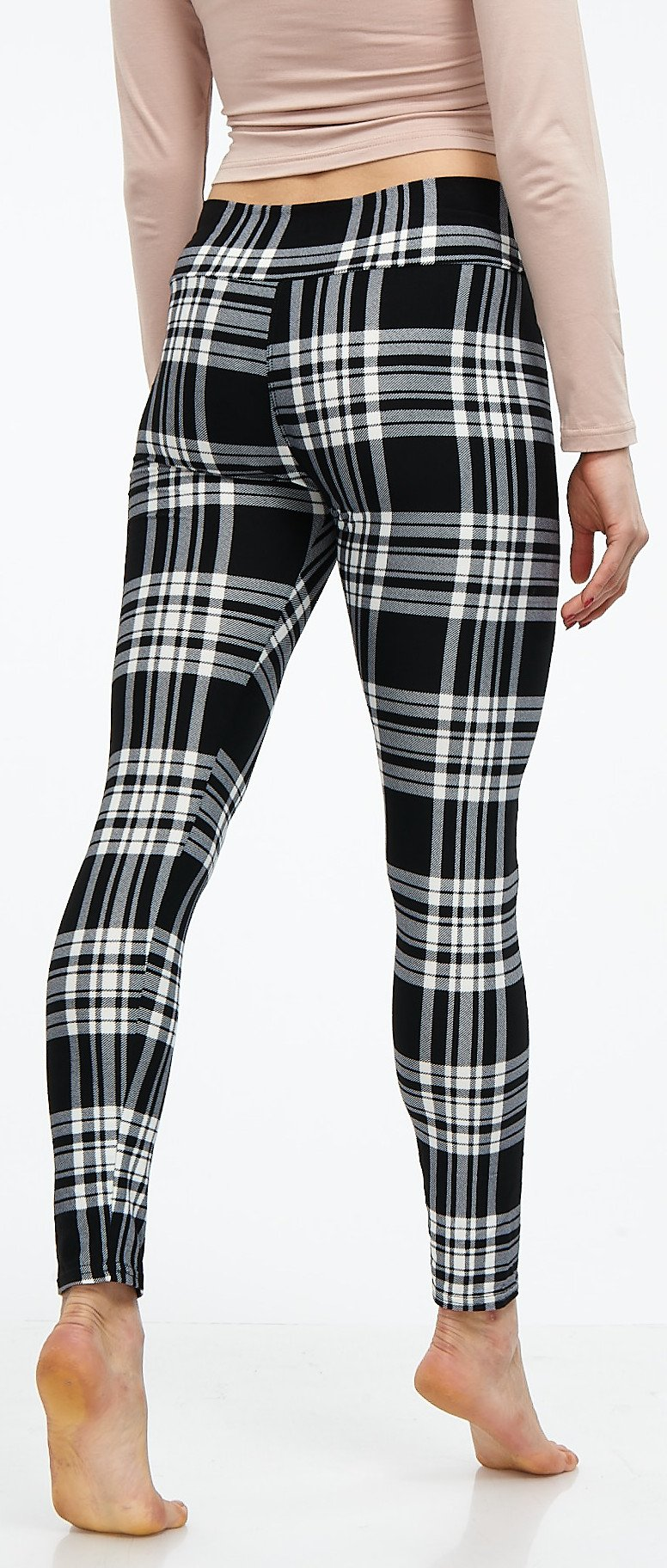 LMB Lush Moda Extra Soft Leggings with Designs- Variety of Prints Yoga Waist - 769YF Black White Plaid B5 by LMB (Image #6)