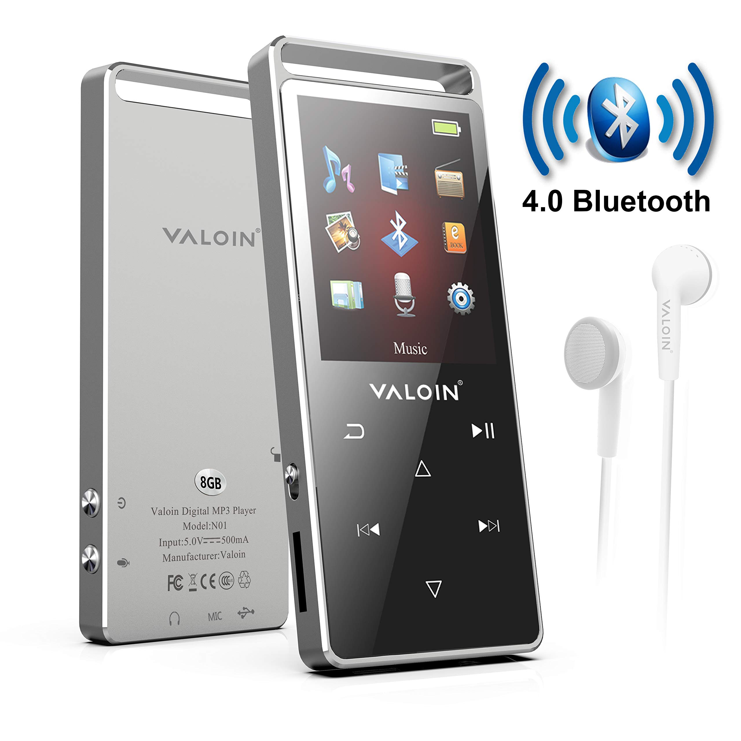 Bluetooth 4.0 8GB MP3 Player,Upgraded Lossless Sound Sport Music Player with FM Radio Voice Recorder,Include Wired Earphones (Black)
