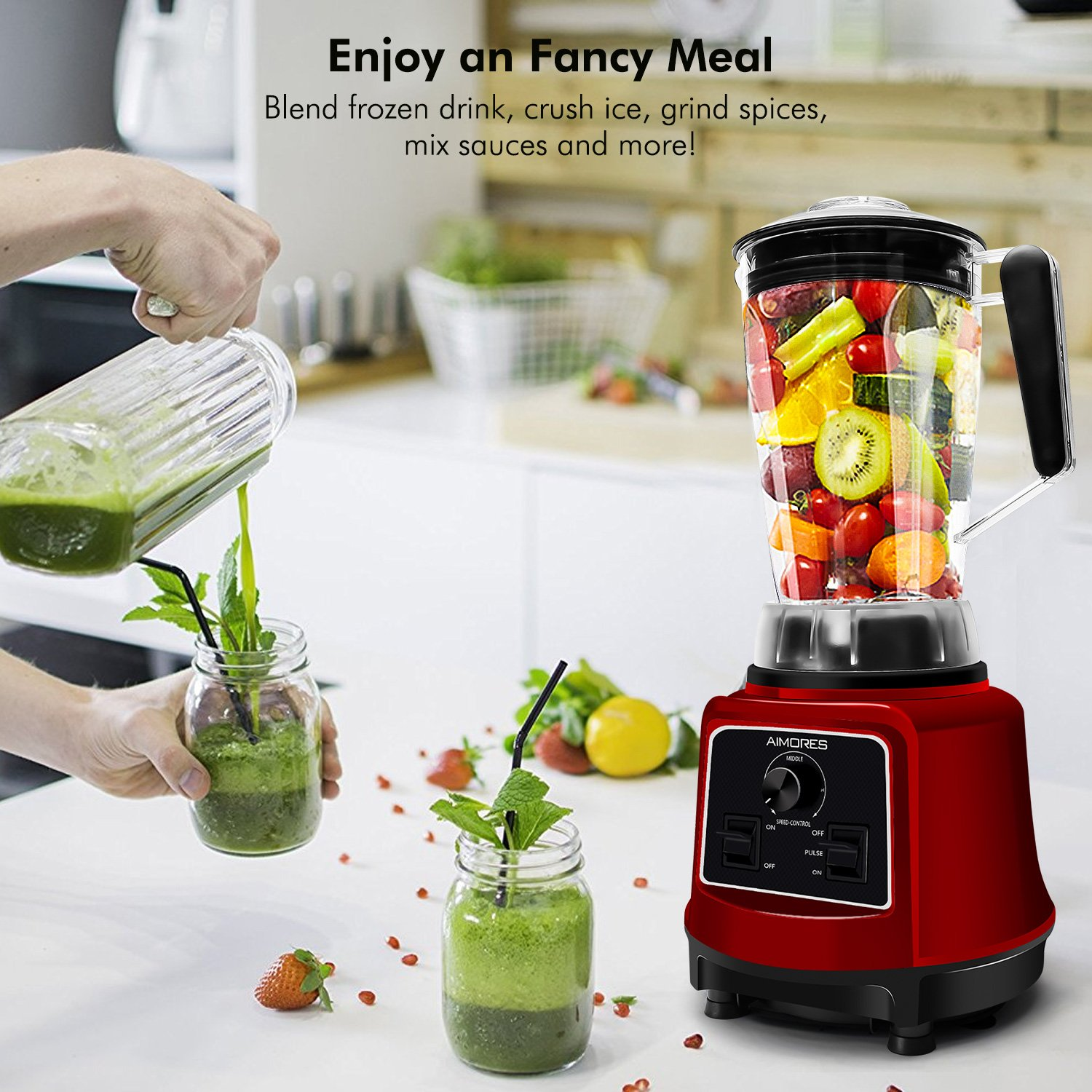 Commercial Blender Aimores for Smoothie   750z. High Speed Juicer, Ice Cream Maker   Optimized 6 Sharp Blades   Auto Clean & Simple Control   w/ Recipe & Tamper   ETL & FDA Certified (Red) by ISUN (Image #1)