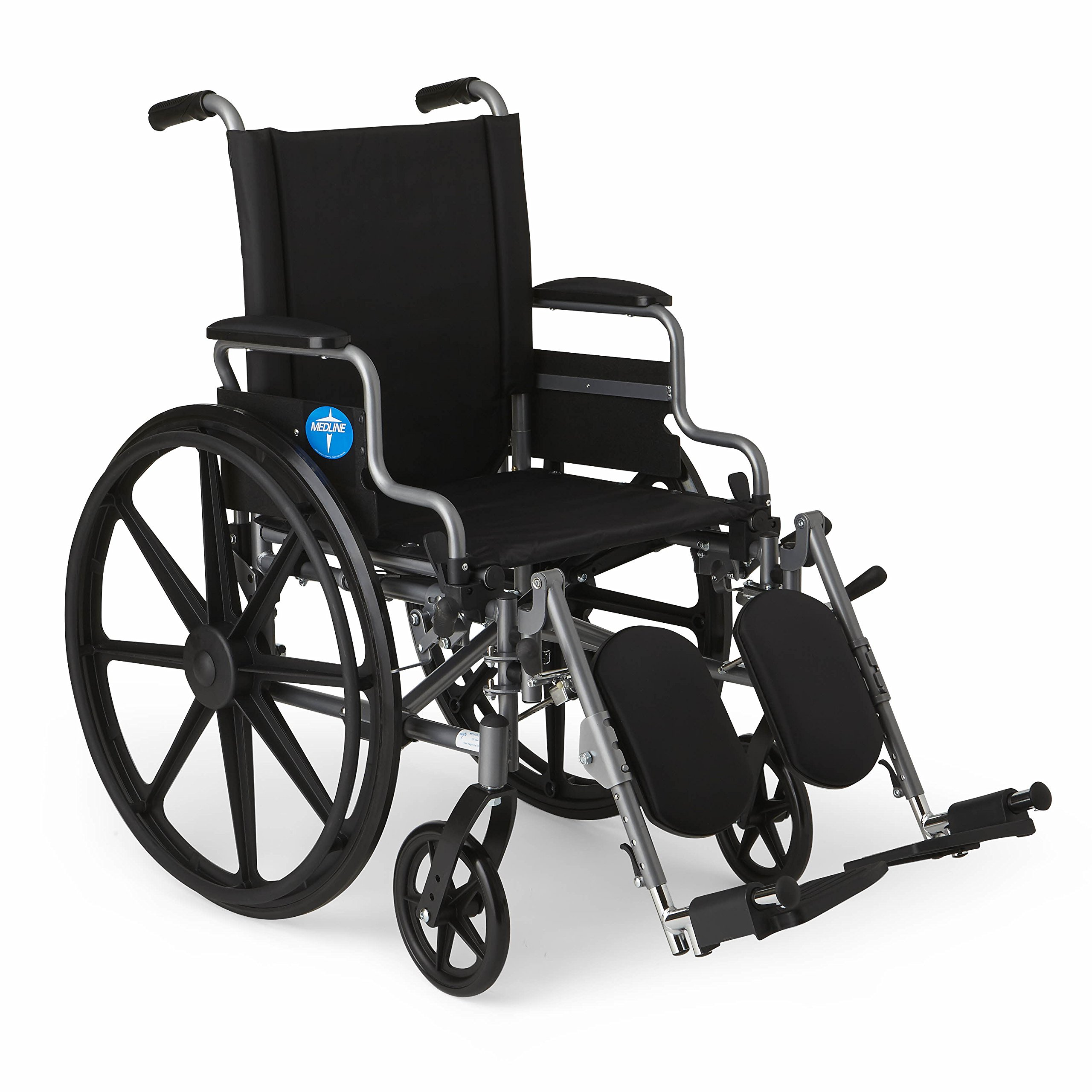 "Medline Lightweight and User-Friendly Wheelchair with Flip-Back, Desk-Length Arms and Elevating Leg Rests for Extra Comfort, Gray, 18"" Seat by Medline"