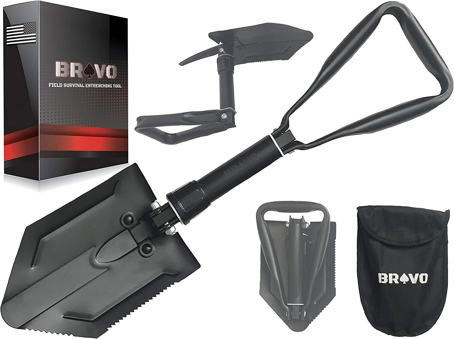 Military Folding Camping Shovel Tool Steel Spade Outdoor Survival Emergency Tool