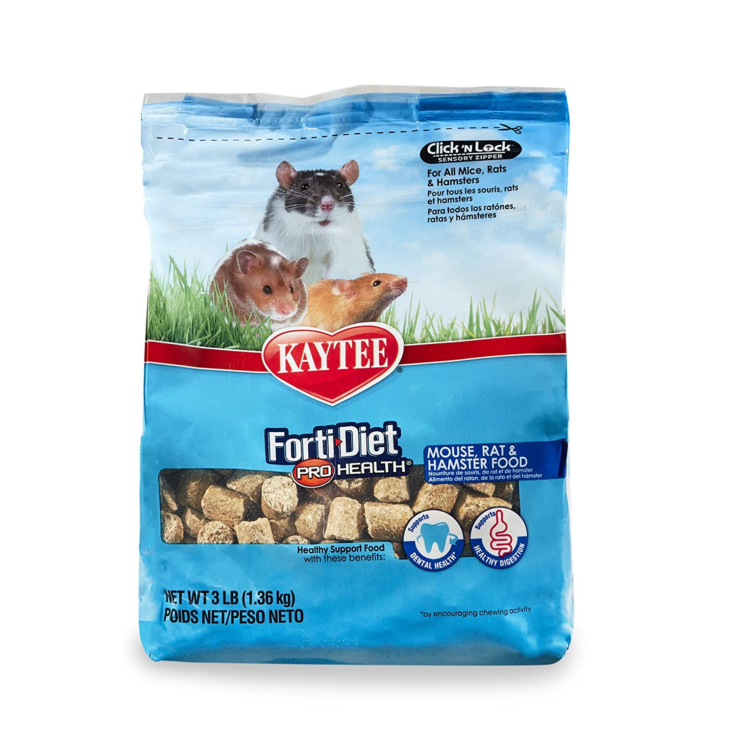 Forti-Diet Pro Health Kaytee Small Animal Food for Mouse and Pet Rats, 3-Pound 100502085