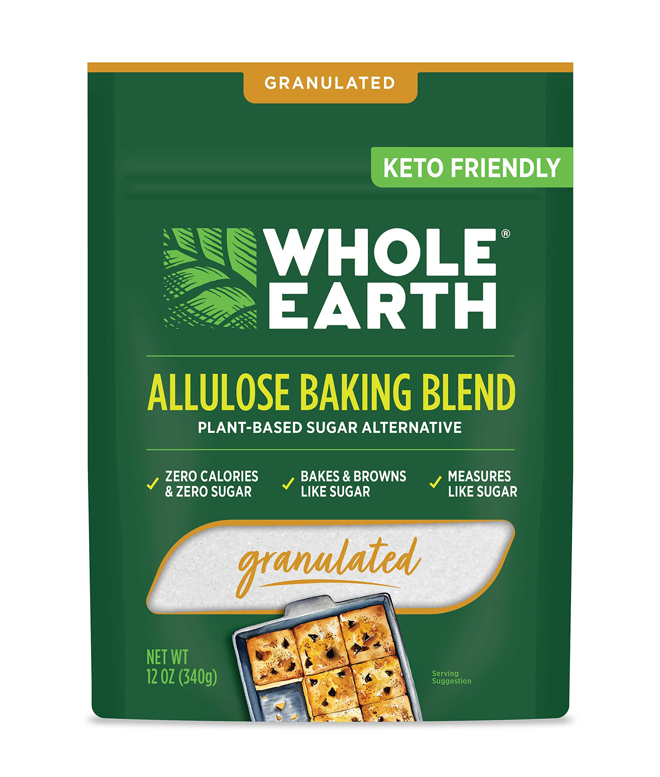 Whole Earth Sweetener Co. Allulose Baking Blend, Granulated, Plant-Based Sugar Alternative, 12 Ounces, 0.75 Pound (Pack of 1)