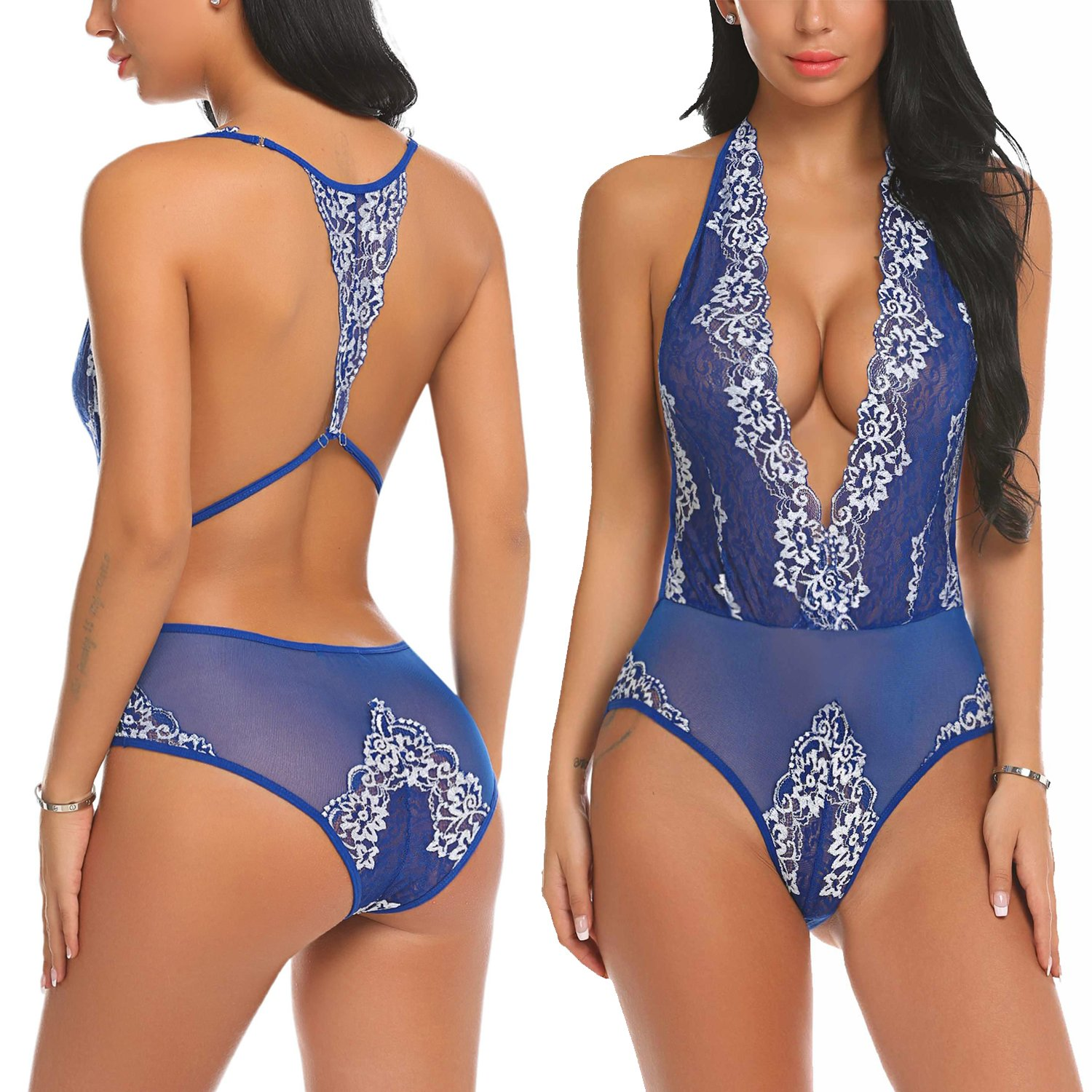 87830151c1 Featuring backless,floral lace patchwork and halter,this lingerie bodysuit  makes you sexy and charming. See through and deep v-neck ...