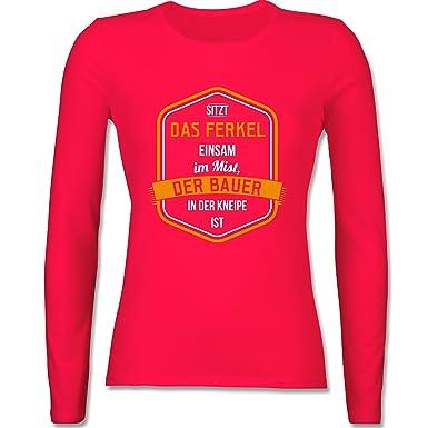 Shirtracer Landwirt - Bauernweisheit Ferkel - XS - Rot - BCTW013 - Damen  Langarmshirt