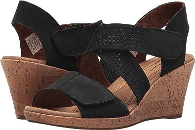 Rockport Womens Cobb Hill Janna Cross Strap Wedge Sandal, Black, 10 B(M