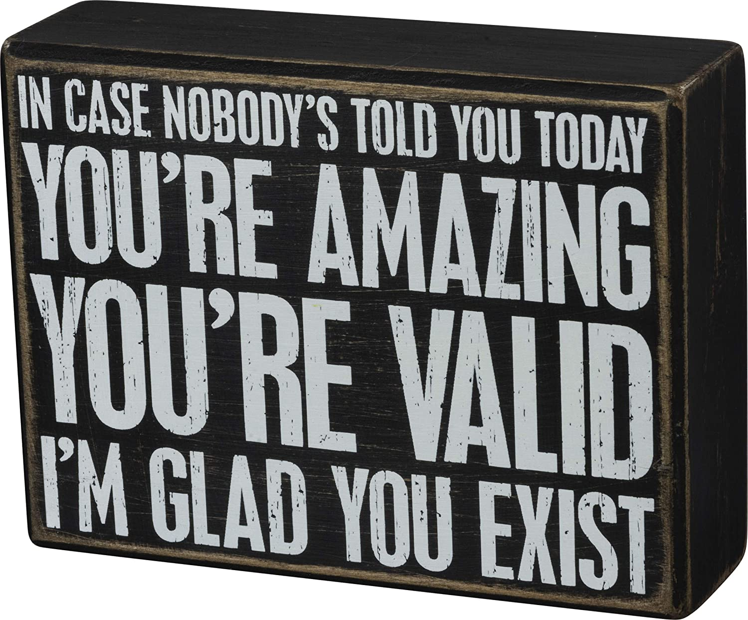 Primitives by Kathy You're Amazing I'm Glad You Exist Wooden Box Sign