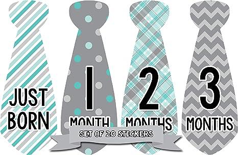 Meses en movimiento bebé mensual Boy Corbata Pegatinas de hito ...