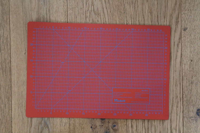 Schneidematte selbstheilend rot-orange A2 45x60cm Schneideunterlage