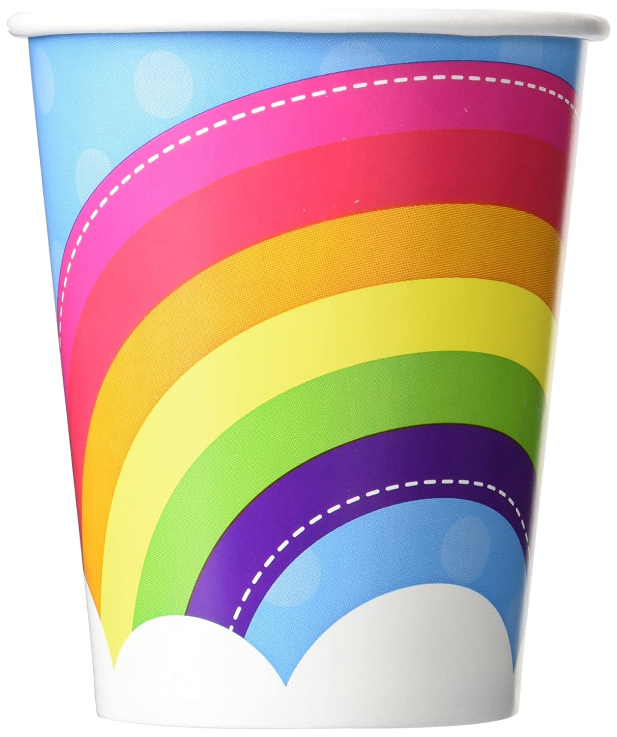 Rainbow Wishes Party Supplies - 9 oz. Paper Cups (8) by BirthdayExpress