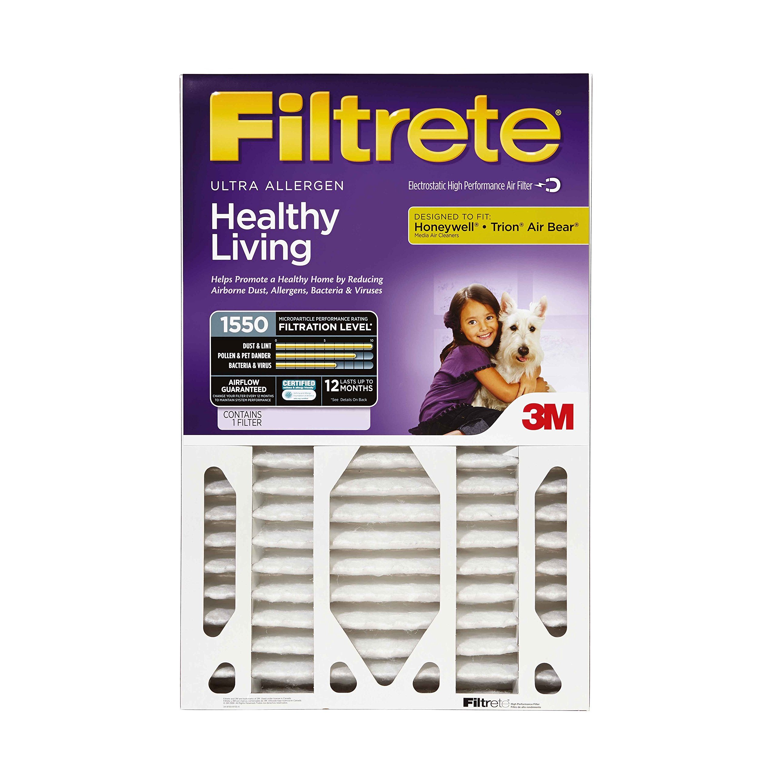 Filtrete Healthy Living Ultra Allergen Deep Pleat AC Furnace Air Filter, Attracts Microscopic Particles, MPR 1550, 20 x 25 x 4 (4-3/8 Actual Depth), 4-Pack by Filtrete