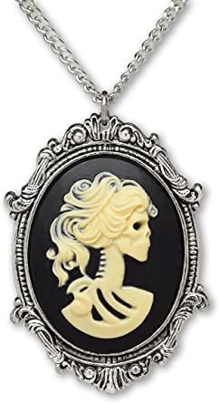 Zombie Day Of The Dead Necklace Skull Skeleton Lady Glass Photo Art Pendant LE