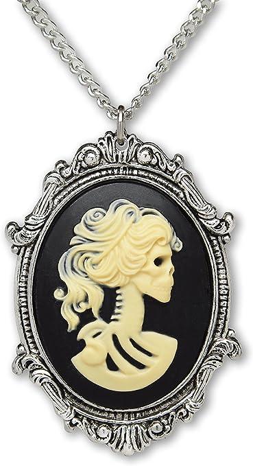 Halloween Gothic Skeleton Pink Lady Cameo Silvertone Locket