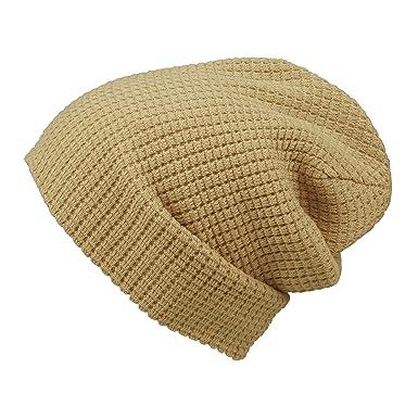 3dbc5d5bbc6ff Morehats Embossed Knit Slouchy Beanie Winter Warm Ski Skater Hip-hop Hat -  Beige