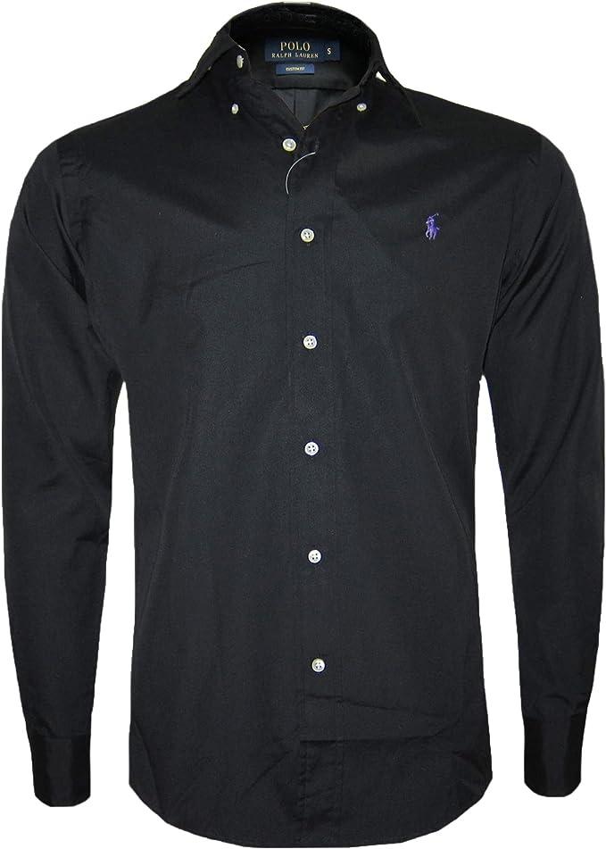 Camisa negra hombre manga larga