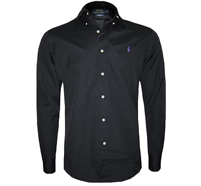 f0accb50 RALPH LAUREN POLO LONG SLEEVE MEN'S CUSTOM FIT SHIRT BLACK, NAVY, WHITE  S,M,L,XL,XXL (Medium, Black): Amazon.co.uk: Clothing