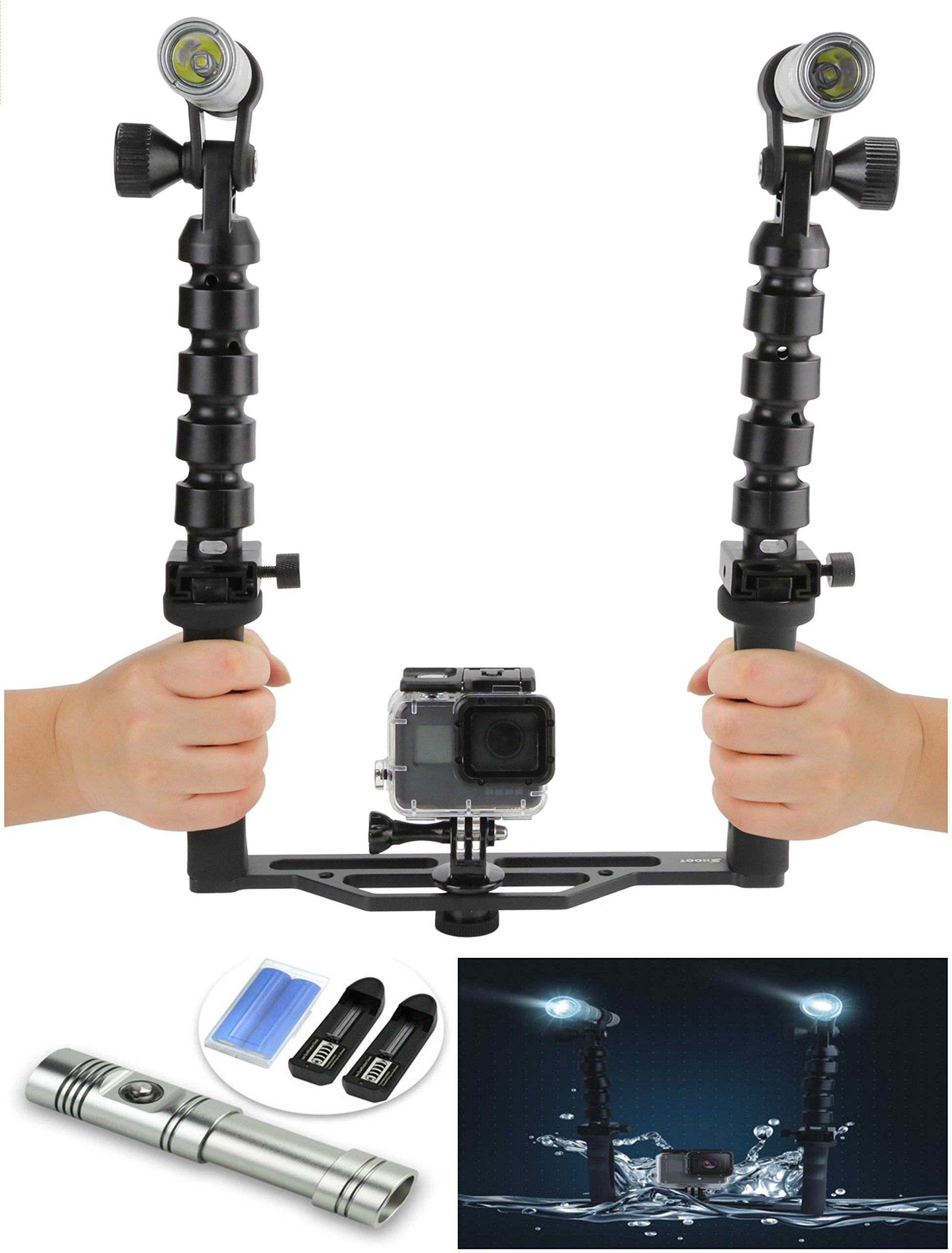 SNAPSITY Underwater Dual Light Dive Torch Double Handle Stabilizer for GoPro Hero 3+ 4 5