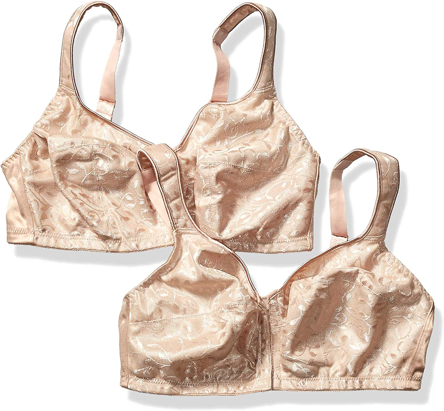 Just My Size Womens Easy-on Front Close Wirefree Plus Size Bra 2-Pack