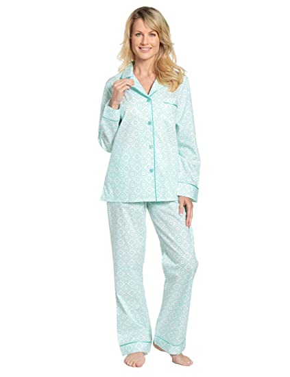 2a664340fa Noble Mount Womens Premium 100% Cotton Poplin Pajama Set at Amazon Women s  Clothing store