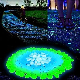 Pierre Fluorescente 200 Pcs Galets Lumineux Cailloux Lumineux Artificiels Pour Aquarium Chemin De Jardin Et Piscine Vert Et Bleu