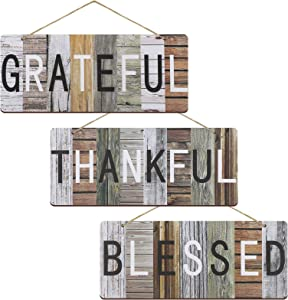 Jetec 3 Pieces Grateful Thankful Blessed Farmhouse Plaque Decor Sign Wooden Hanging Wall Art Signs Rustic Board Decoration for Living Room, Dining Room, Kitchen, Bedroom, Bathroom and Home