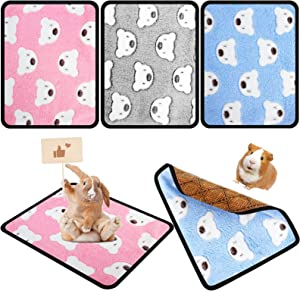 3 Pieces Small Animal Bed Double Sided Guinea Pig Mat Bed Winter Warm and Summer Cool Hamster Cushion for Bunny Hamster Guinea Pig Squirrel Hedgehog Chinchilla (Bears)