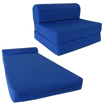 Wondrous Chair Folding Foam Bed Studio Sofa Guest Folded Foam Mattress 6 X 48 X 72 Royal Blue Machost Co Dining Chair Design Ideas Machostcouk