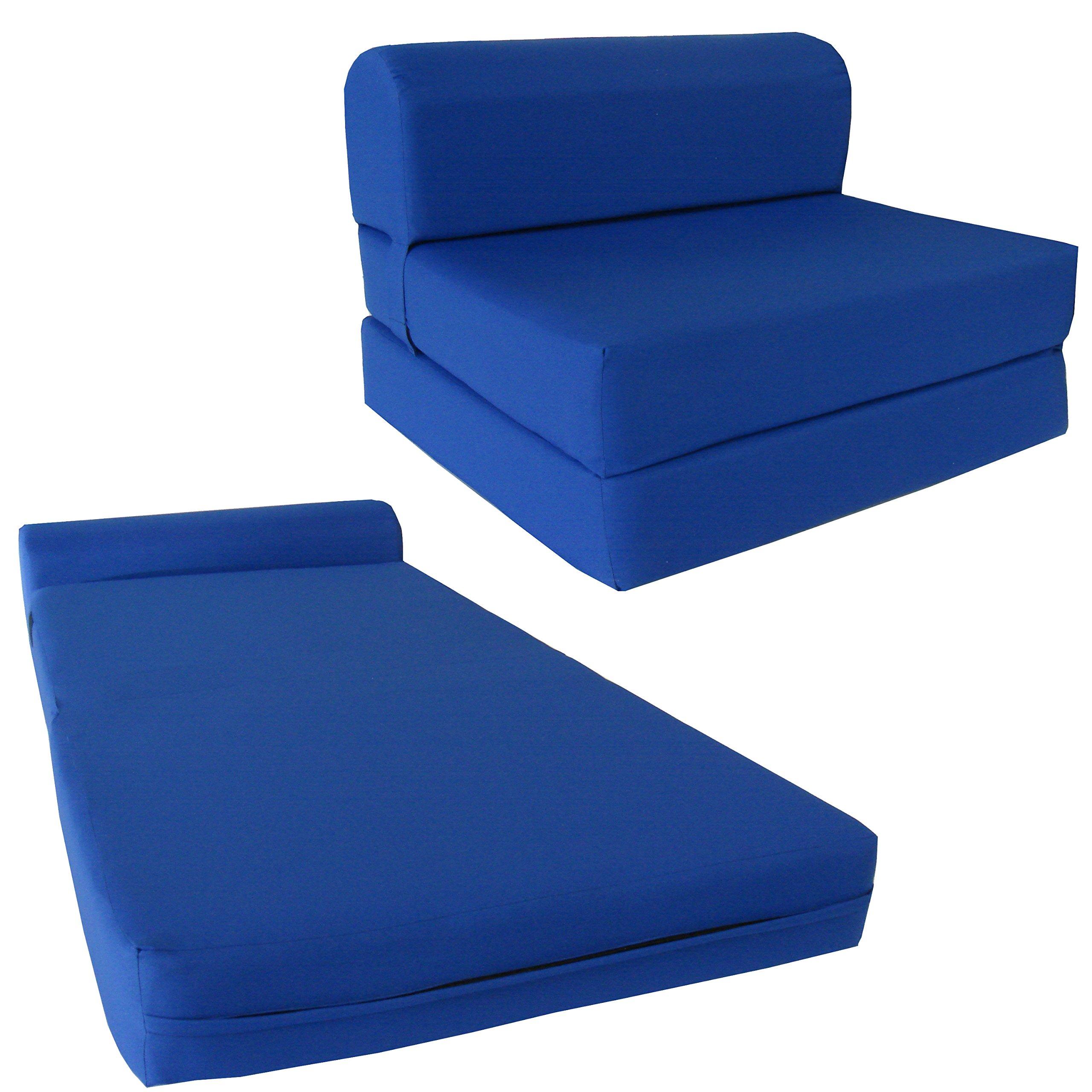 Chair Folding Foam Bed, Studio Sofa Guest Folded Foam Mattress (6'' x 58'' x 74'', Royal Blue)