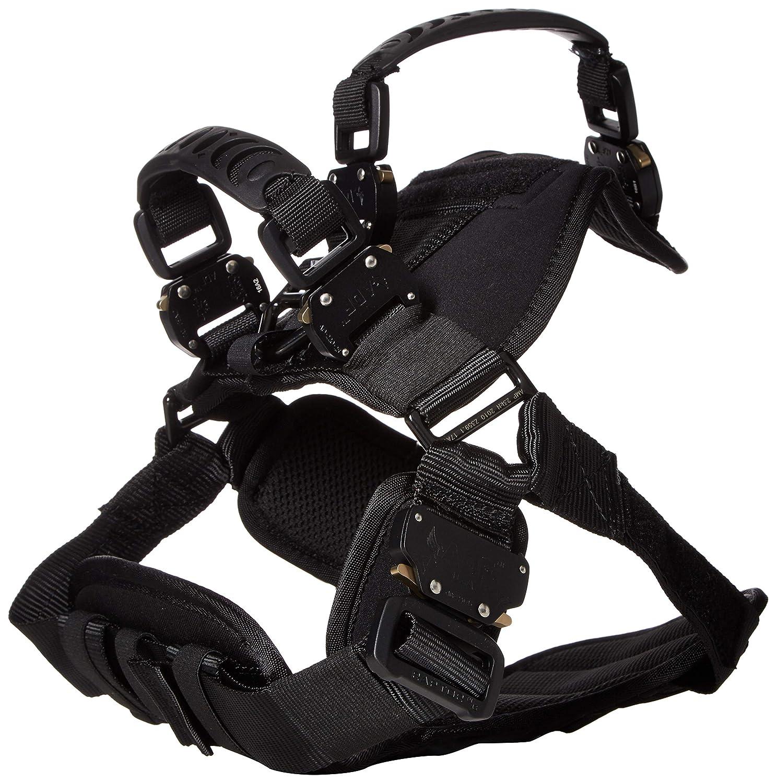 Fusion Pets Trekker Adjustable Military Tactical Police K9 Ergonomic Dual Handle Dog Harness Hunting Guard Canine Large Black
