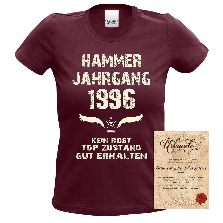 Damen T-Shirt /& Urkunde Hammer Jahrgang 1997  burgund Geburtstag Geschenk 20