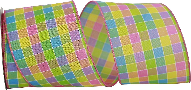 Multi 4 Inch X 10 Yards Reliant Ribbon 93393W-001-10F Colorful Stitch Check Wired Edge Ribbon