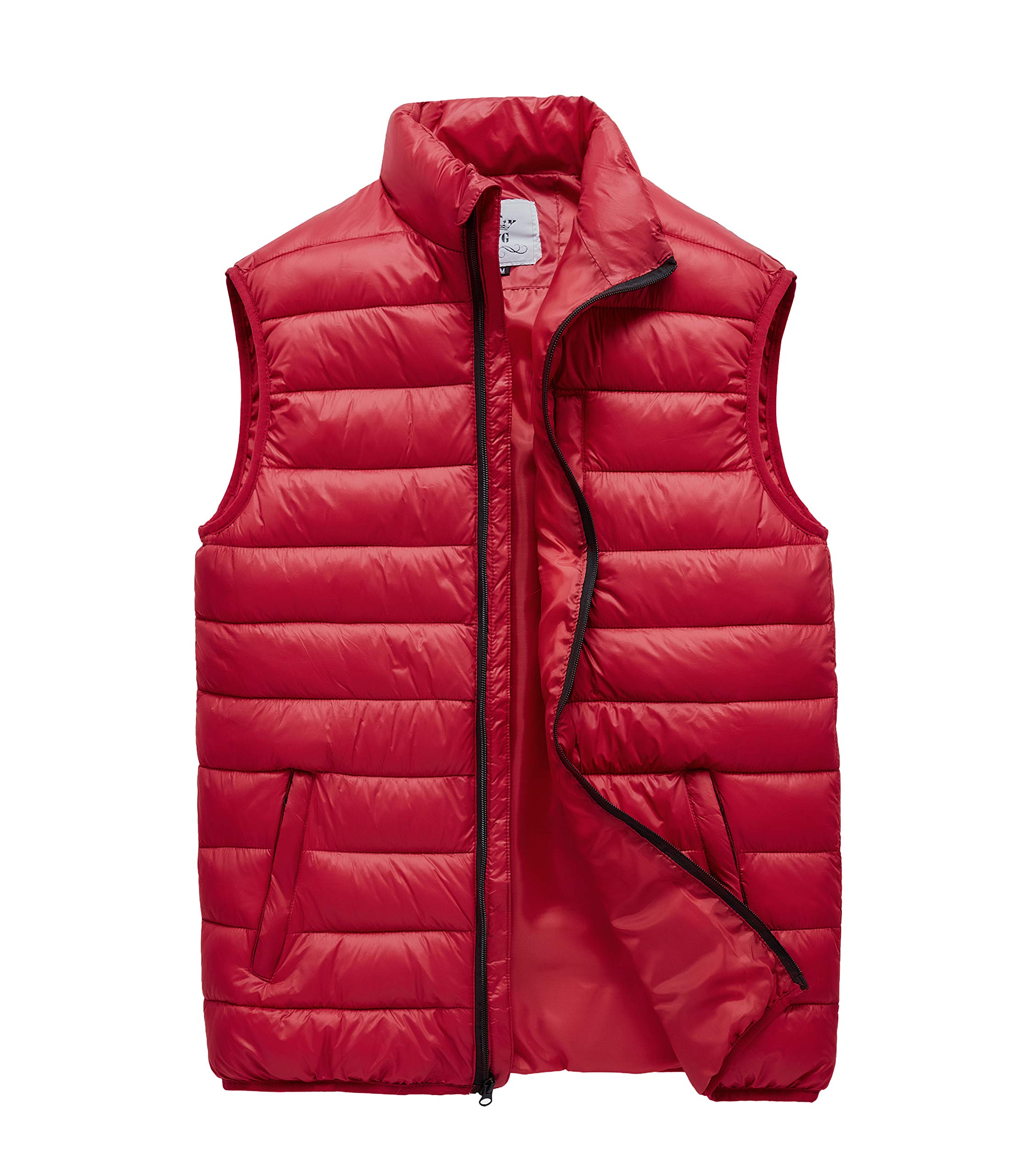 JYG Men's Winter Quilted Puffer Vest Red by JYG