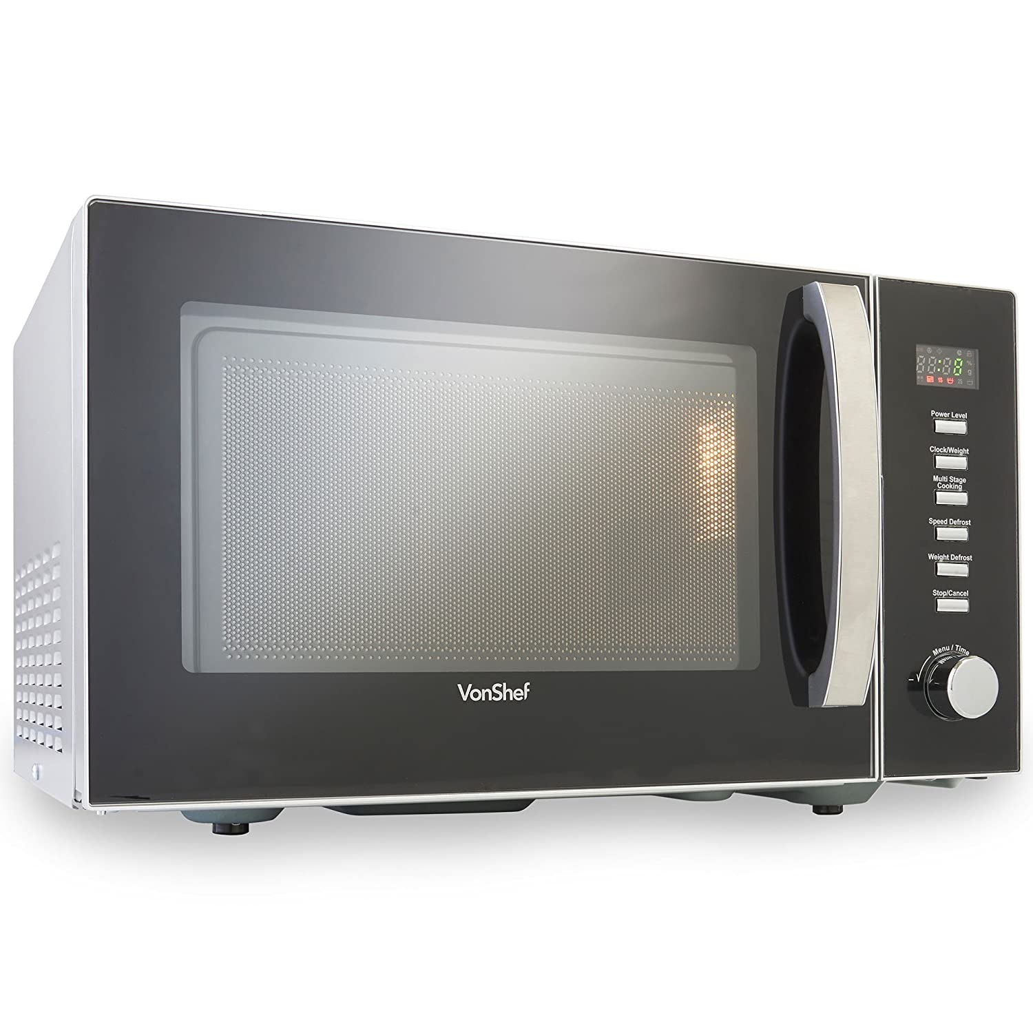 VonShef Large 23L Digital Microwave Oven – Easy to Operate Family Sized Microwave with Digital Display, Child Lock, Defrost & Multi-Stage Cooking Functions – 900W