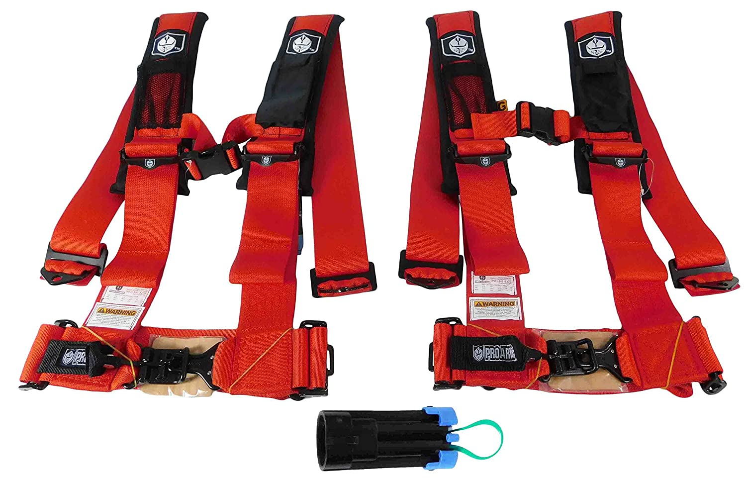 Pro Armor A114230RD(x2) P151100 4 Point 3' Harness w Override Clip - Red 2 PACK