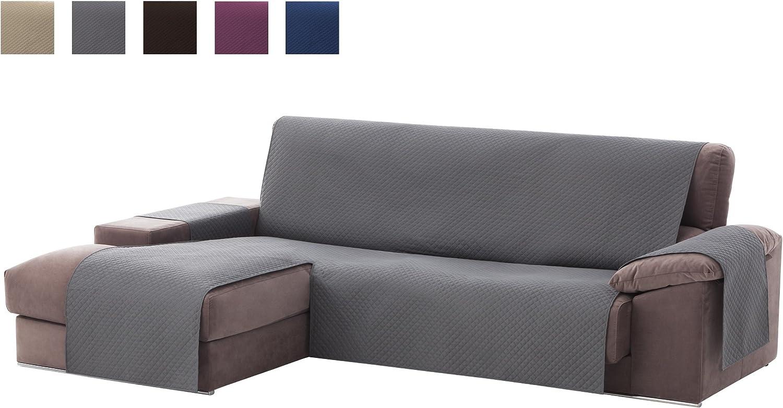 Textilhome - Funda Cubre Sofá Chaise Longue Adele, Protector para Sofás Acolchado Brazo Izquierdo. Tamaño -200cm. Color Gris (Visto DE Frente)